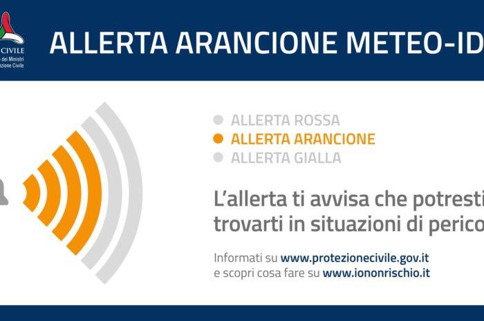 Allerta Meteo Arancione per rischio Idrogeologico e Idraulico da mezzanotte di Sabato 23 Novembre per l'intera giornata di domani 24 Novembre 2019